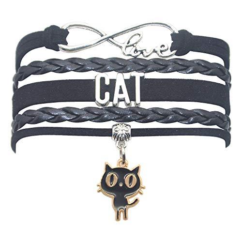 HCChanshi Cat Bracelet Jewelry Leather Infinity Love Cat Gifts Cat BFF Jewelry Bracelet Gifts for Women, Girls, Men, Boys, Cat Lover, Cat Owner, Cat Themed Gifts (Black)