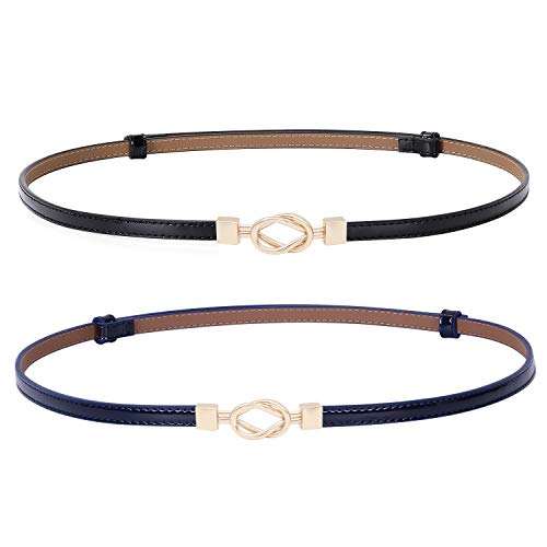 Patent Leather Skinny Women Belt Thin Waist Belts for Dresses with Interlocking Buckle