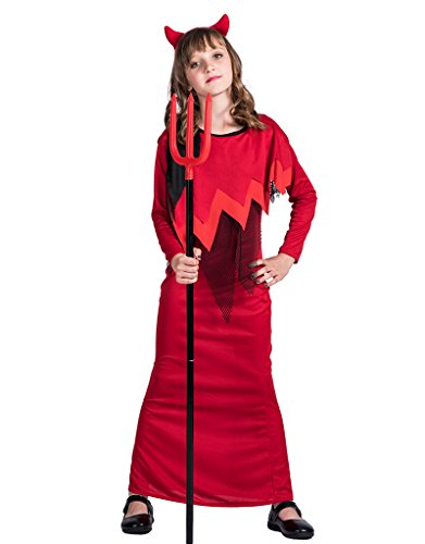 EraSpooky Girls Classic Halloween Devil Party Costume(Red, Medium)