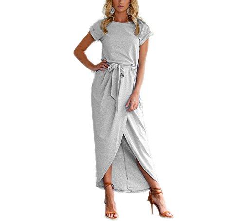 Halter Sash (JIANGTAOLANG Women High Split Wrap Dress Summer Roun Neck Short Sleeve Sashes Beach Long Dress Gray M)