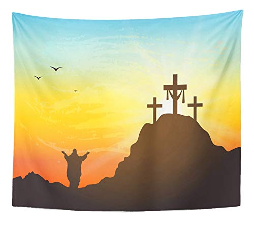 Emvency Tapestry Artwork Wall Hanging Calvary Hill with