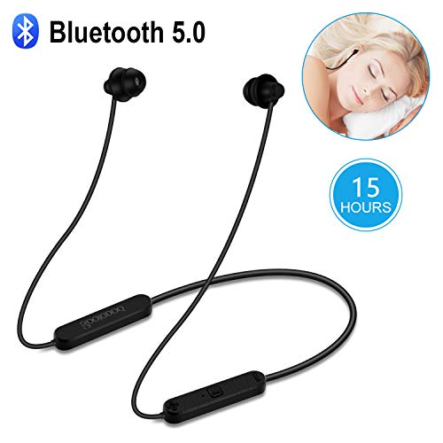 Bluetooth Sleep Headphones-Upgrade-GOOJODOQ CSR Bluetooth 5.0 Soft in-Ear Sleeping Earbuds,15 Hours Music time,Wireless Sleep Headsets with Built-in Mic for Insomnia, Side Sleeper, Gym, Relaxation ()