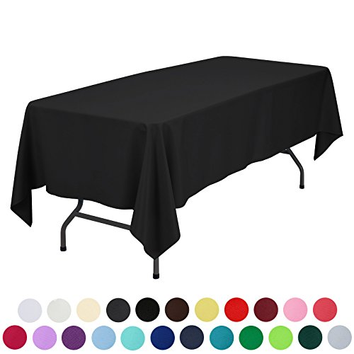 VEEYOO 60 x 102 inch Rectangular Solid Polyester Tablecloth for Wedding Restaurant Party, Black