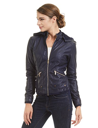 WJC1424 Womens Faux Leather Inner Fleece Hoodie Jacket S NAVY by Lock and Love (Image #1)