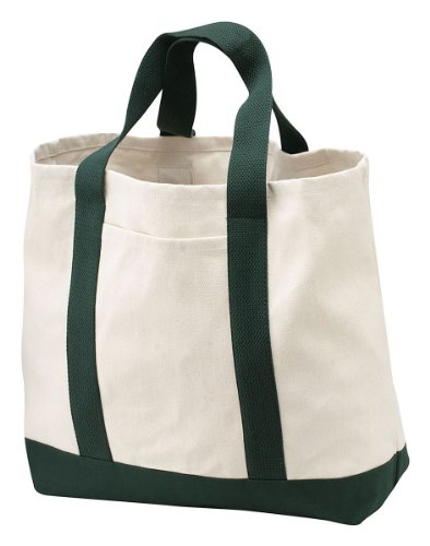 Port & Company Canvas Bottom Shopping Tote_Natural/Spruce_One Size ()