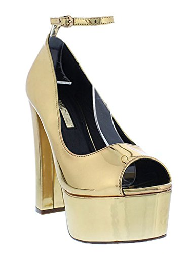 Patent Stripper Platform Heels Shoes - 7