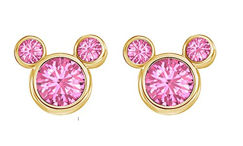 October Birthstone Tourmaline Mickey Mouse Stud Earrings In 14k Yellow Gold Over Sterling Silver -