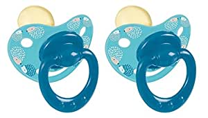 Tigex 80602097 - Pack de 2 chupetes de látex fisiológicos, diseño de erizos (18 - 24 meses) color azul