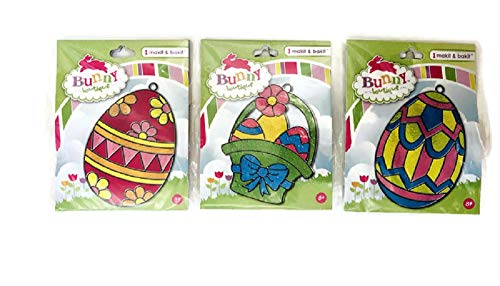 Spring Easter Basket Colorful Eggs Bunny Bees or Duck Makit & Bakit Sun Catcher Stained Glass Art Project for Kids - Boys, Girls, and Children 8 Years and Older - Bundle of 3 (Easter Basket) ()