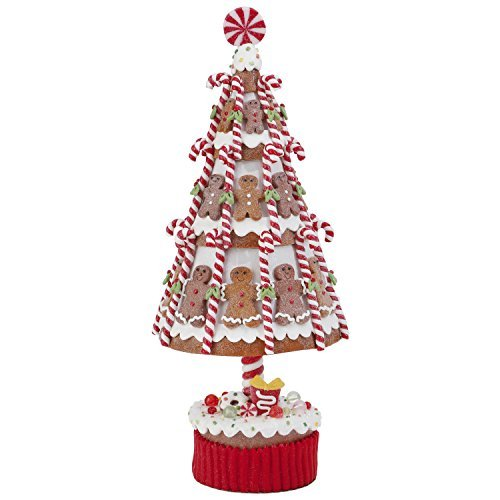 Claydough Gingerbread Christmas Tree with Candy Canes and Gingerbread Men, 15.5 Inch