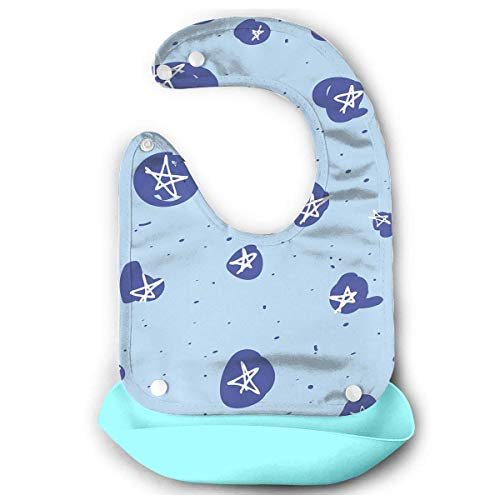 Sketchy Stars Rubber Baby Bibs Removable Unisex Bibs for Toddler Wipe,Easy Clean -