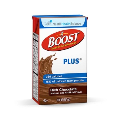 Boost Plus Drink, Rich Chocolate, 8 Ounce Brikpak, 4 Cases of 27 (108 Total Brikpaks)