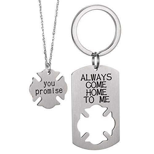Gift for High-risk Workers Hudbband Fireman Police Gifts for Men Personalized Firefighter Jewelry- Always Come Home To Me Keychain, You Promise Necklace ()
