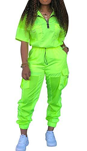 Womens Windbreaker Tracksuit 2 Pieces Outfit Drawstring Zipper Jacket Long Pants Jogger Set Royal Green