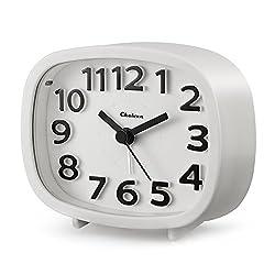 "Alarm Clock, Chelvee 3"" Quartz Analog Alarm Clock with Night Light, Ultra Small, Silent with No Ticking (White)"