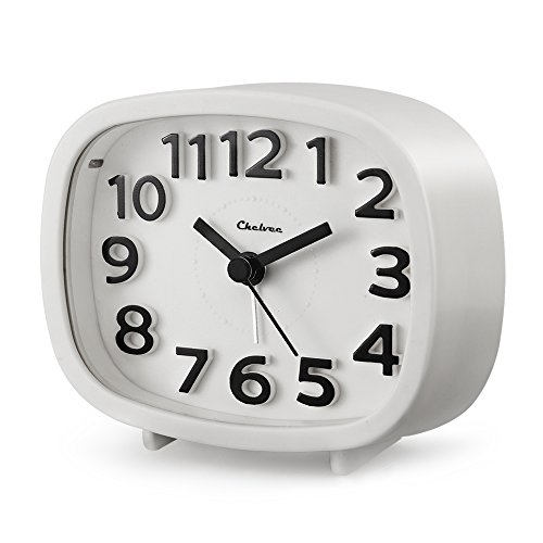 "Alarm Clock, Chelvee 3"" Quartz Analog Travel Alarm Clock with Night Light, Ultra Small, Silent with No Ticking (White)"