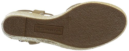 Tamaris 28390, Sandalias con Cuña Para Mujer Marrón (Antelope 375)