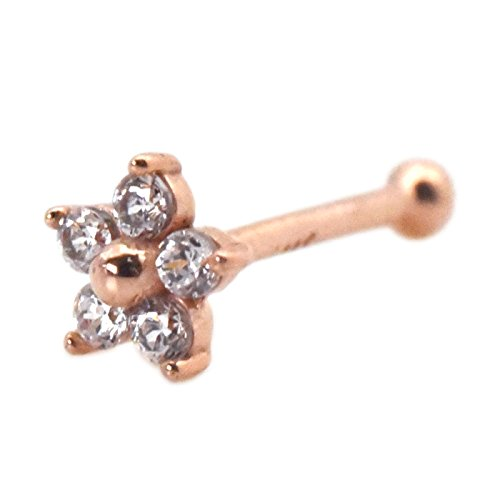 Nose Piercing Stud 3mm Flower with Cubic Zirconia 14k Gold Ball Bone End Cartilage Jewelry - Rose Gold