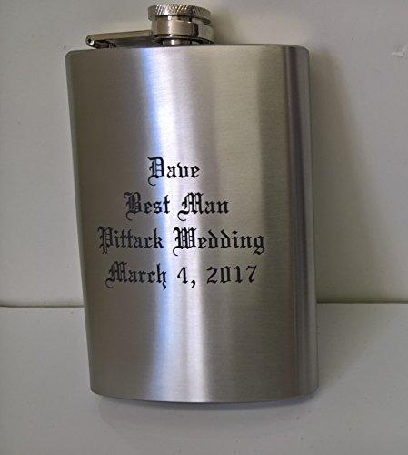 Laser Engraved 8oz Hip Flask, You Design and Personalize (Engraved Flask 8 Oz)