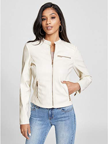 G by GUESS Women's Valencia Faux-Leather Moto - White Jacket Guess