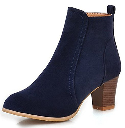 Summerwhisper Women's Dressy Fuax Suede Round Toe Side Zipper Booties Stacked Block Mid Heel Short Ankle Boots Shoes Navy Blue 12 B(M) US