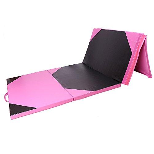 Mallofusa 4'x10'x2″ Thick Folding Panel Gymnastics Mat Gym Fitness Exercise Yoga Tumbling Mats Pink/black