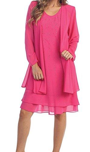 Abend mit Kleid Mutter formales HWAN Hand Fuchsie Bolero Gen ht Kirche der Braut Jacke Kleid qFIw4TP