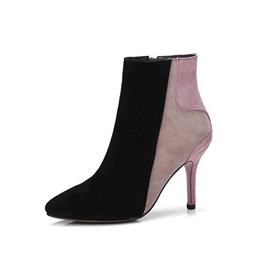 Dames Martin Hiver Chaussures Stiletto Talons Couture Automne Bottes Courtes Taille À Femmes Bottes Et Fine Pointu Multicolor BOTXV apricot Conception Hauts Yxzqw75oU