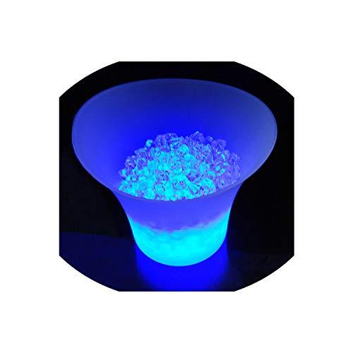 - 5L Champagne Light Ice Bucket Ktv Beer Ice Bucket Led Round Plastic Ice Bucket Wine Stand Champagne Wine Rack Beverage Cooler,Blue Light 5L