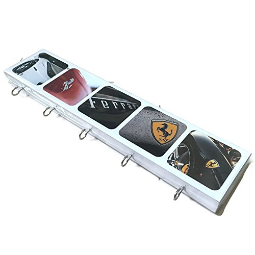 Agility Bathroom Wall Hanger Hat Bag Key Adhesive Wood 5 Hooks Classic Ferrari Car Logo's - Ferrari Price F1
