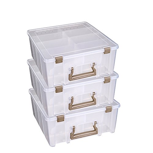 ArtBin Super Satchel Double Deep with Removable Dividers, Clear Art Craft Storage Container Box, 6990ZZ, 3 Pack, Clear & Gold