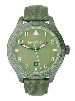 Nautica BFD 105 Date Polyurethane Leather - Olive Men's watch #N11108G
