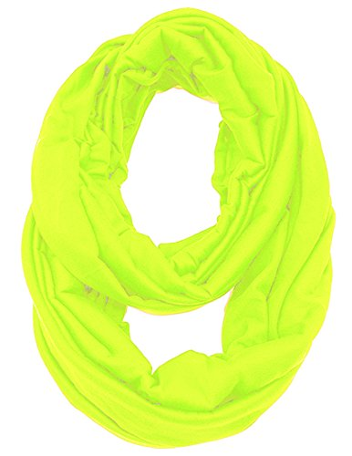 KMystic Large Solid Color Infinity Loop Jersey Scarf (Neon Yellow)