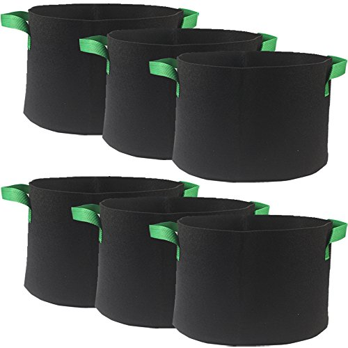 Casolly Grow Bag/Aeration Fabric Plant Pots with Green Handles for Plants,15-Gallon 6-Bag by Casolly