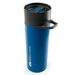 Gsi Outdoors - Glacier Stainless Commuter Javapress, French Press Coffee Mug, Blue, Superior Backcountry Cookware Since 1985