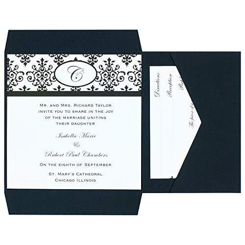Wilton Black and White Scroll Wedding Invitation Kit, 25pc, 6'' W x 6'' H]()