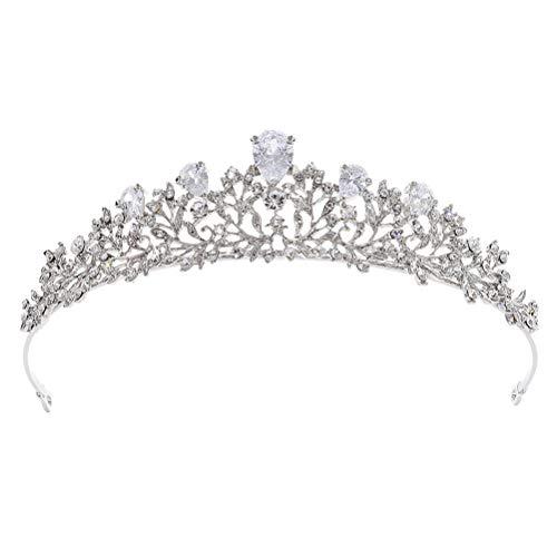 Zirconia Corona de la boda Hairband Aro de pelo con diamantes de imitación artificiales Boda Casco nupcial Accesorios para...