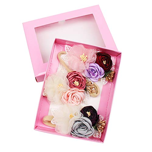 CN Baby Girls Floral Headbands Nylon Flowers Crown Hair Bow Elastic Bands For Newborn Infant Toddlers Kids Pack of 3 ()