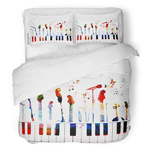 Semtomn Decor Duvet Cover Set Full/Queen Size Piano Colorful Music Instruments Color Guitar Modern Song Choir 3 Piece Brushed Microfiber Fabric Print Bedding Set Cover]()