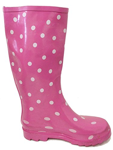 Buckle Rain Mid Color Fashion Polka Shoes Dots Wellies Styles Pink High Boots Snow Knee Women's G4u Rubber Multiple Calf 5YqSKz