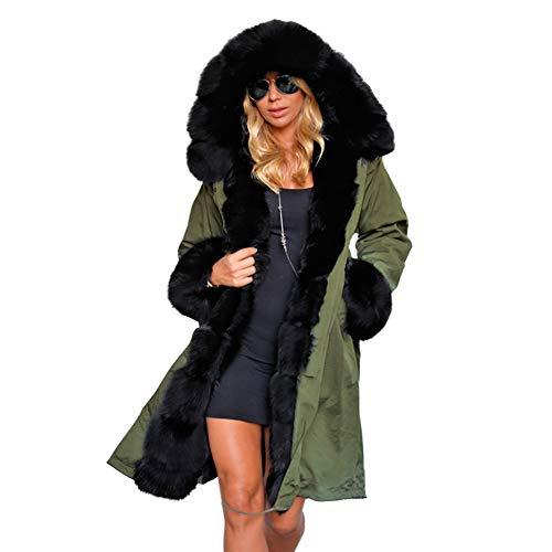 Parka Mujeres De Outwear Chaqueta Capucha Cálido Manga Black Espesar Abrigo Moda Con Larga Invierno Abrigos Caliente qrqSHA