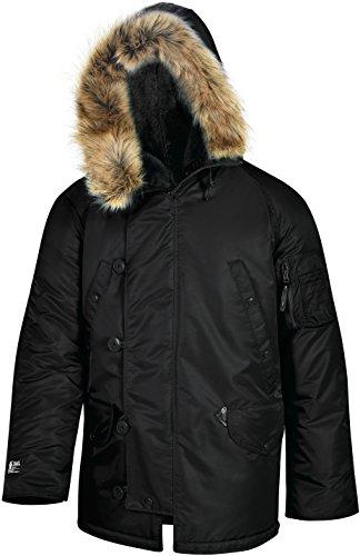 Valley Apparel LLC Made in USA Men's N-3B Nylon Parka, Black, XL