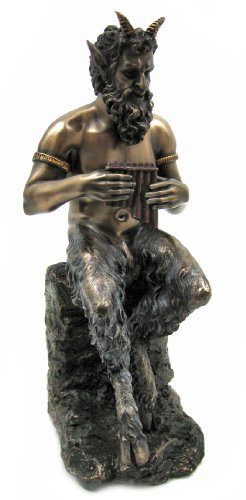 Bronzed Finish Pan Faun Statue Greek Mythology by Private Label