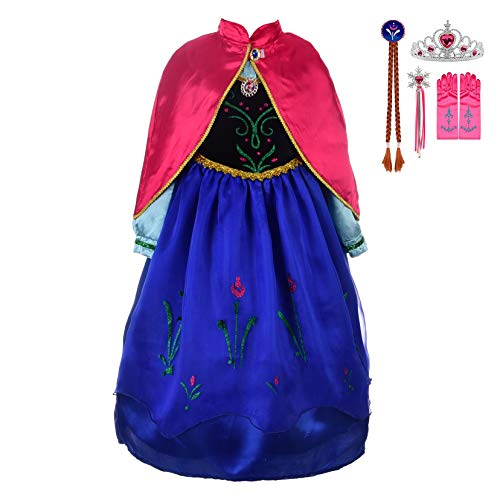Lito Angels Girls Princess Anna Frozen Dress Up Costumes Anna Costume Halloween Outfit with Accesories + Bride Wig Size 3T