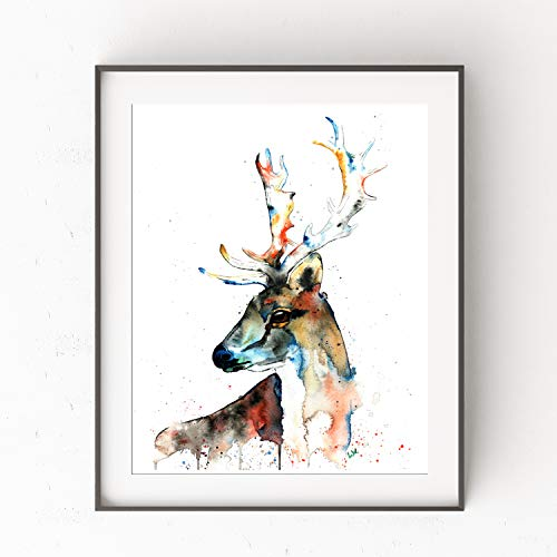 (Fallow Deer Wall Art by Whitehouse Art | Country Wall Decor, Cottage Decor for the Home, Log Cabin Artwork for Walls |Professional Art Print of a Deer Original Watercolor Painting | Lodge Art|5 Sizes )