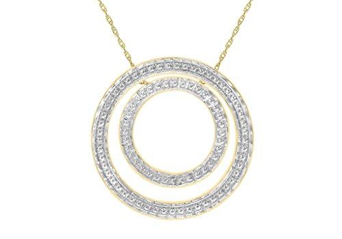 """9ct or 2couleurs Coupe Diamant Double Cercle Pendentif sur chaîne Prince de Galles 46cm/18"""""""