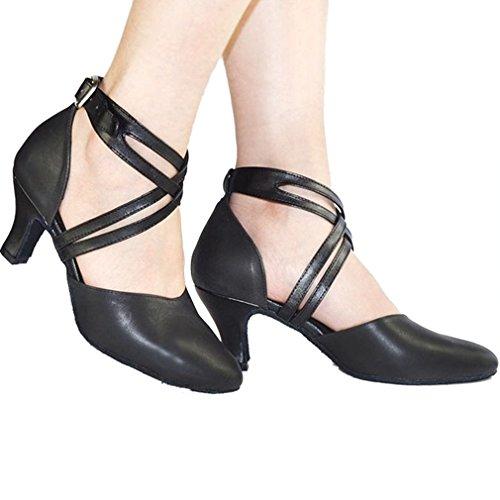 Cruzada Negro Xianshu Baile Medio Hebilla Talón Zapatillas Zapatos Correa Mujeres Zapatos Latín 7rIqrP