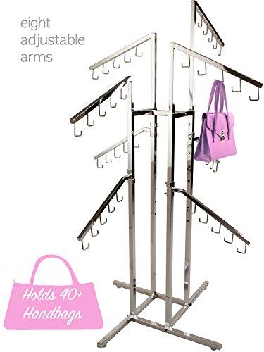 (Purse Rack Only Garment Racks Deluxe Handbag Rack - Heavy Duty Commercial Grade Chrome Handbag Rack, 8 Adjustable Height Slant Arms, Perfect for Handbags, Purses, Backpacks and More!)