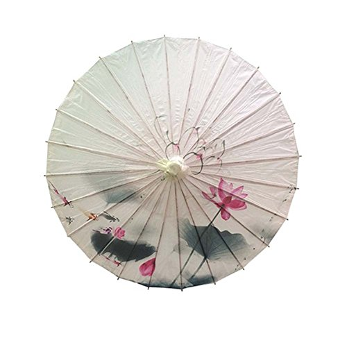 Non-waterproof Handmade Chinese Oil Paper Umbrella,Lotus