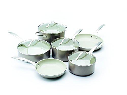 Metals 10 Piece Ceramic Cookware Titanium